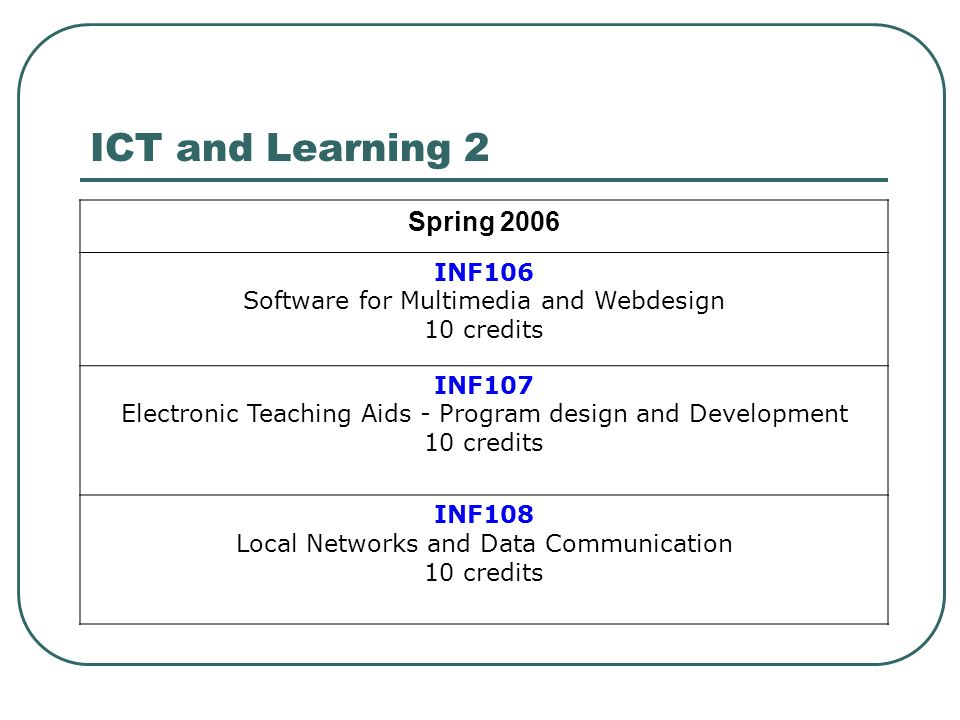 ICT and Learning 2 Spring 2006 INF106