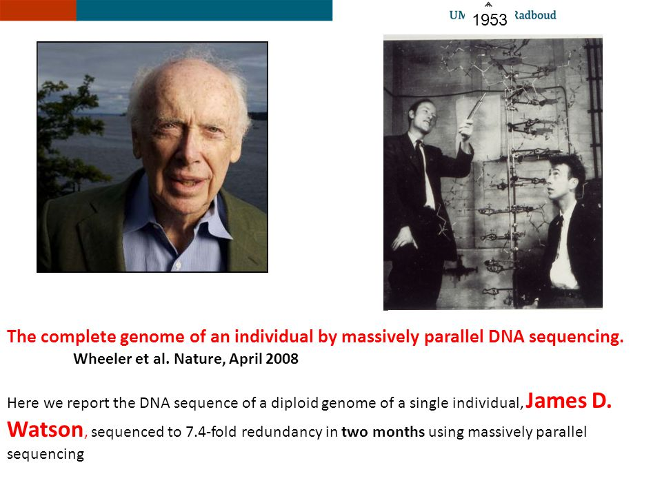 1953 The complete genome of an individual by massively parallel DNA sequencing. Wheeler et al. Nature, April 2008.