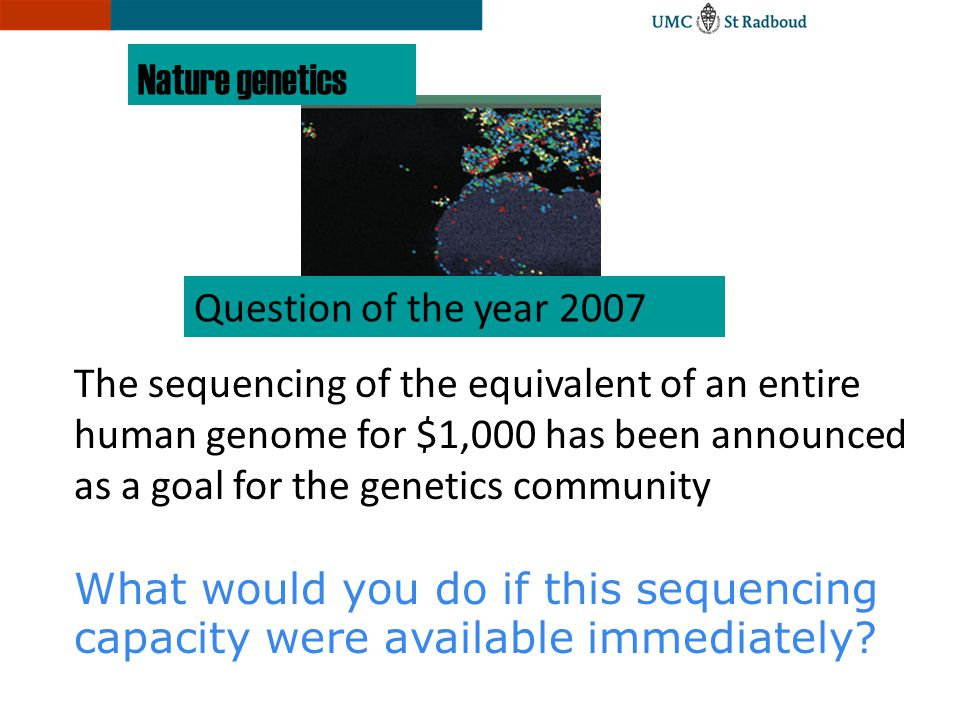Nature genetics Question of the year 2007.