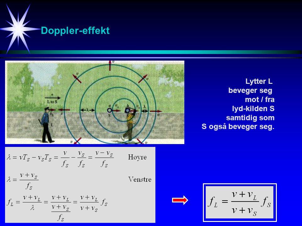 Doppler-effekt Lytter L beveger seg mot / fra lyd-kilden S