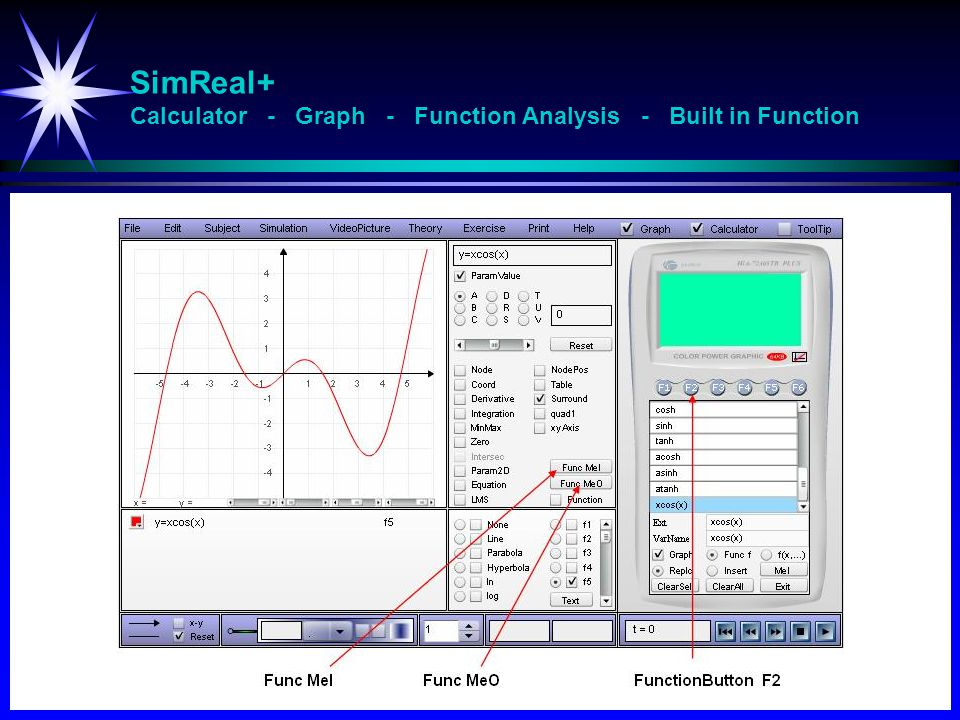 SimReal+ Calculator - Graph - Function Analysis - Built in Function