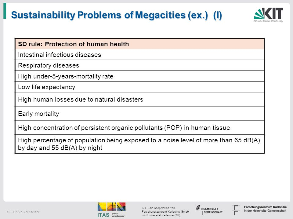 Sustainability Problems of Megacities (ex.) (I)