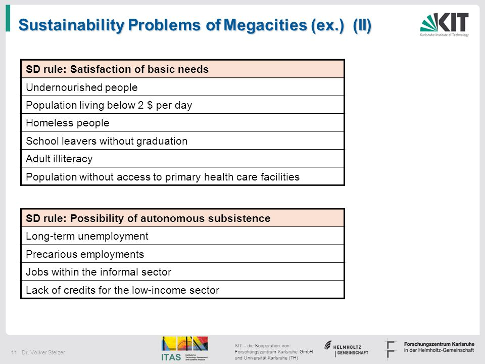 Sustainability Problems of Megacities (ex.) (II)