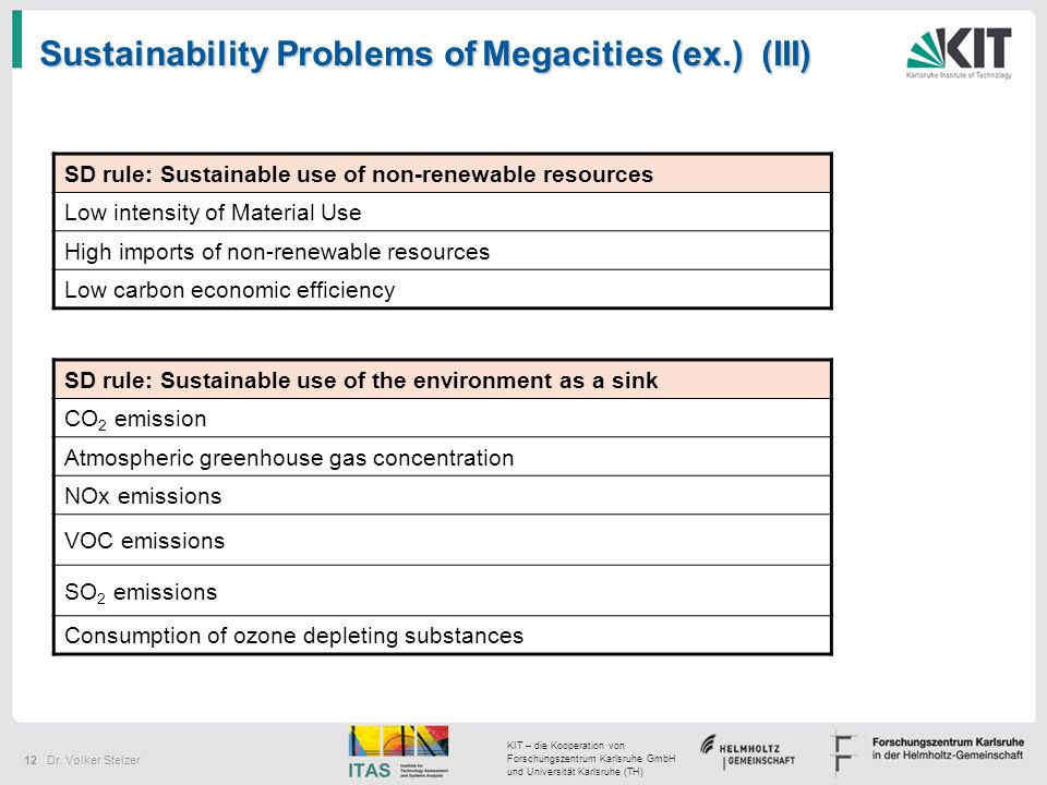 Sustainability Problems of Megacities (ex.) (III)