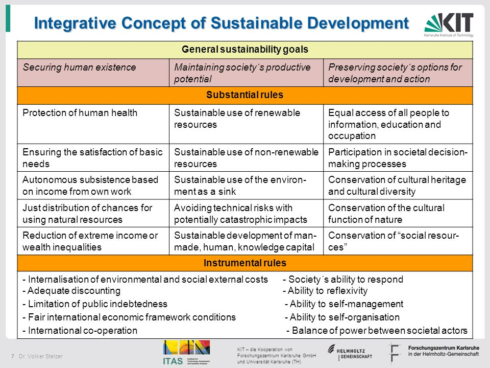 General sustainability goals