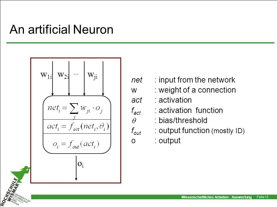 An artificial Neuron w1i w2i wji oi net : input from the network