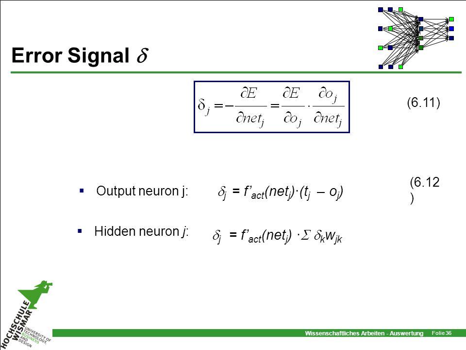 Error Signal  j = f'act(netj)·(tj – oj) j = f'act(netj) · kwjk