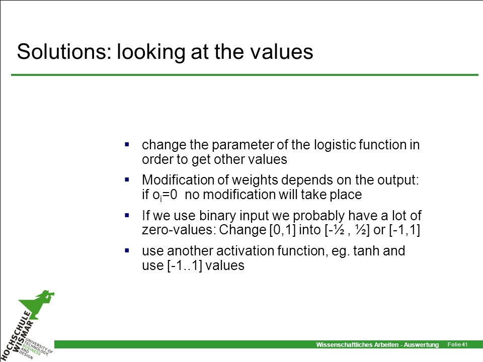 Solutions: looking at the values