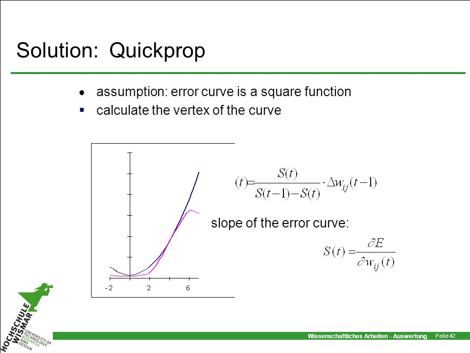Solution: Quickprop assumption: error curve is a square function