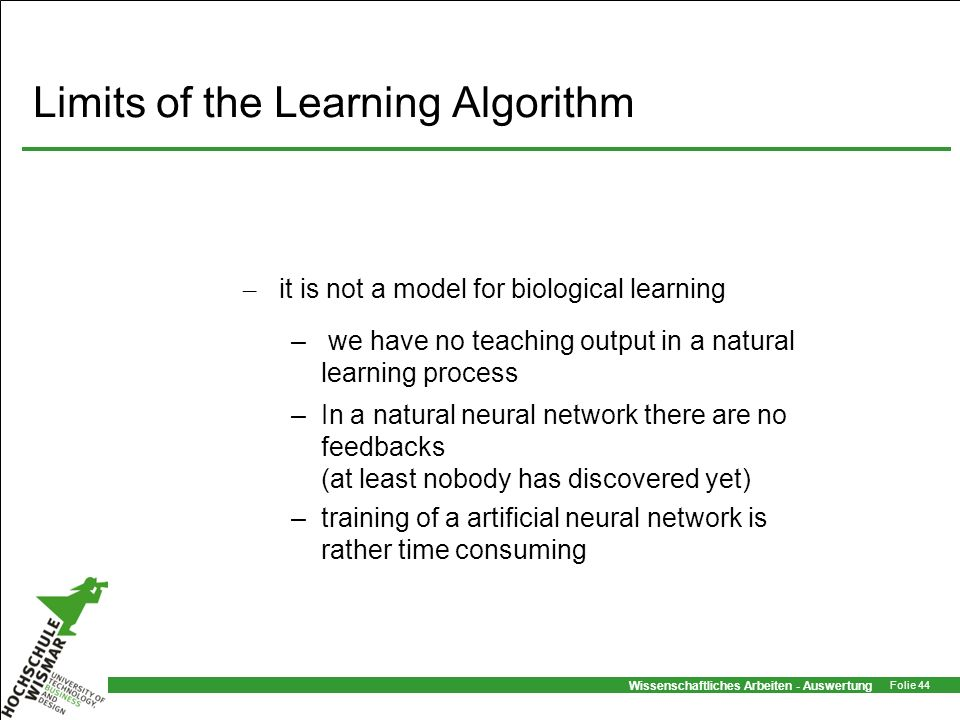 Limits of the Learning Algorithm