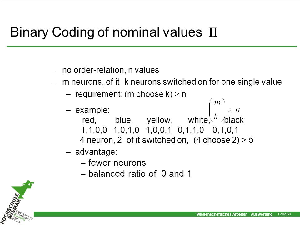 Binary Coding of nominal values II