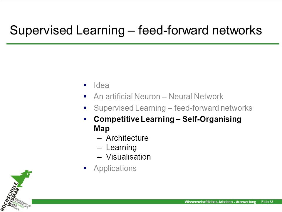 Supervised Learning – feed-forward networks