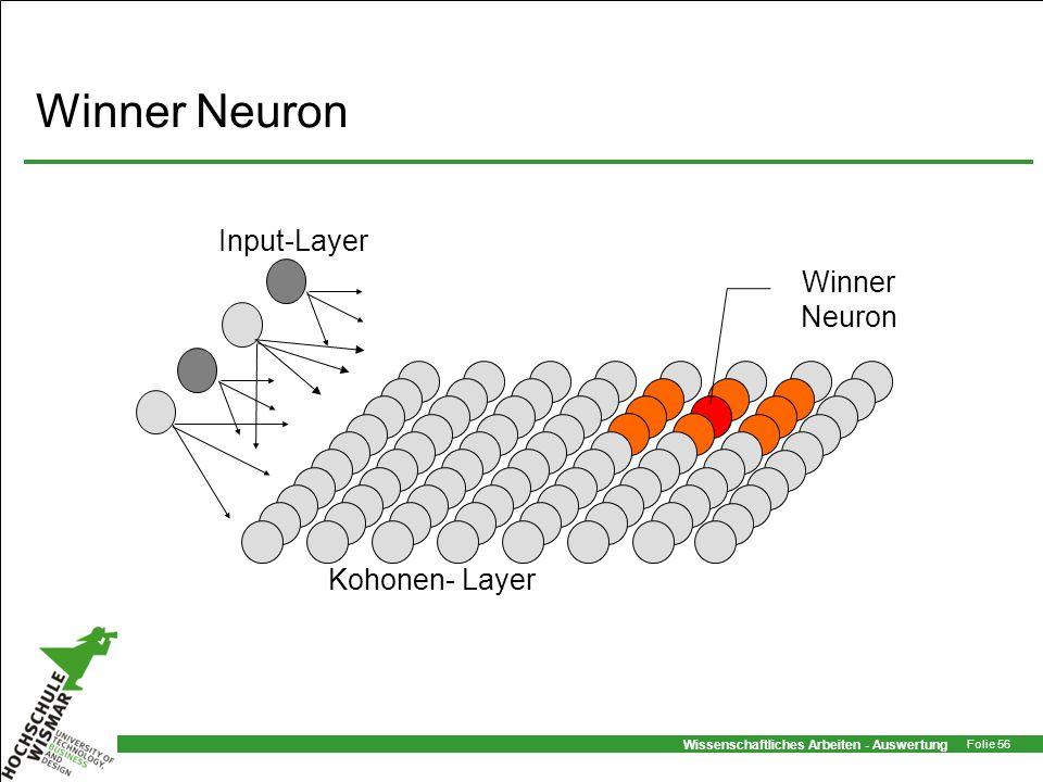 Winner Neuron Kohonen- Layer Input-Layer Winner Neuron