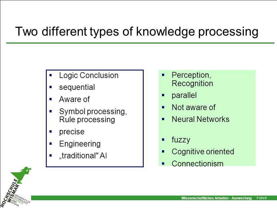 Two different types of knowledge processing