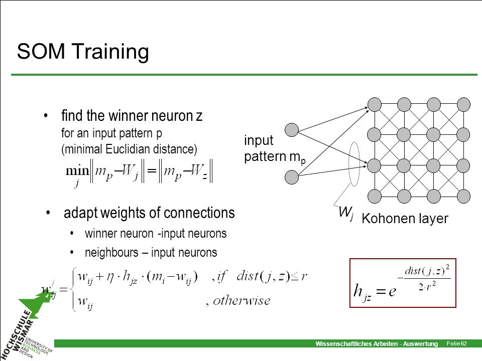 SOM Training Kohonen layer. input pattern mp. Wj. find the winner neuron z for an input pattern p (minimal Euclidian distance)