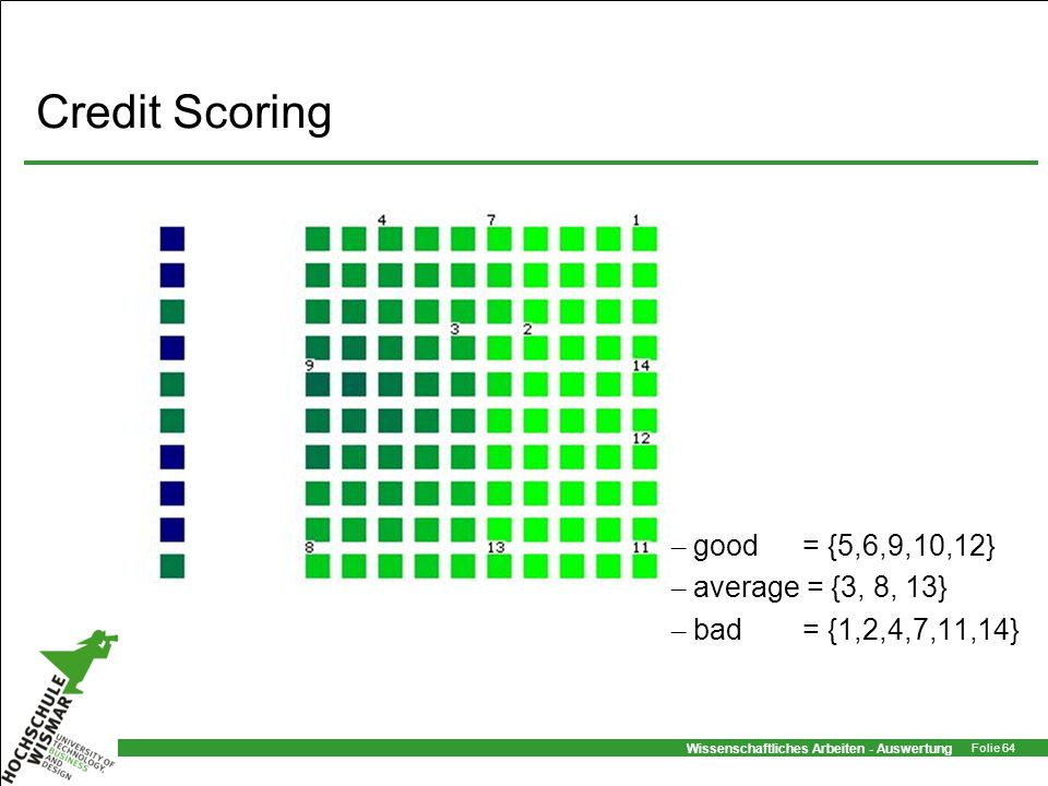 Credit Scoring good = {5,6,9,10,12} average = {3, 8, 13}