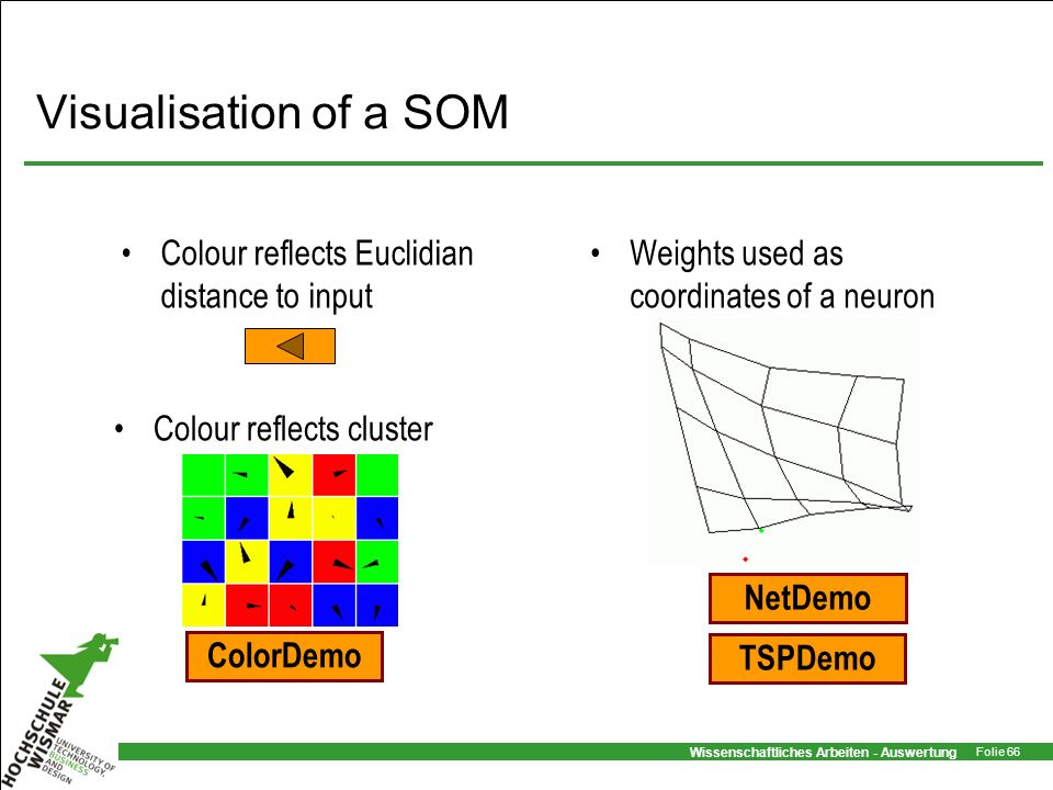 Visualisation of a SOM Colour reflects Euclidian distance to input