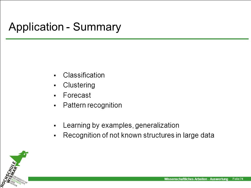 Application - Summary Classification Clustering Forecast