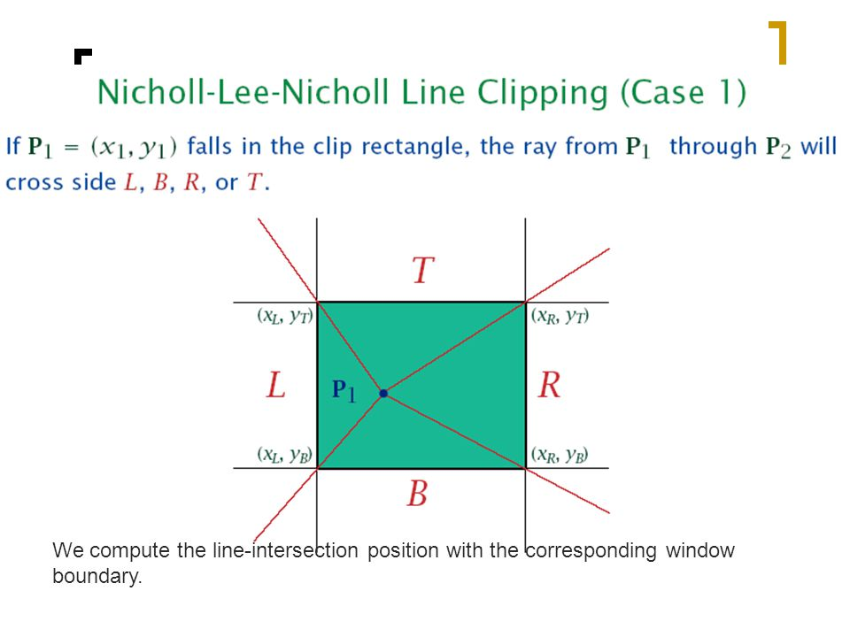 We compute the line-intersection position with the corresponding window boundary.