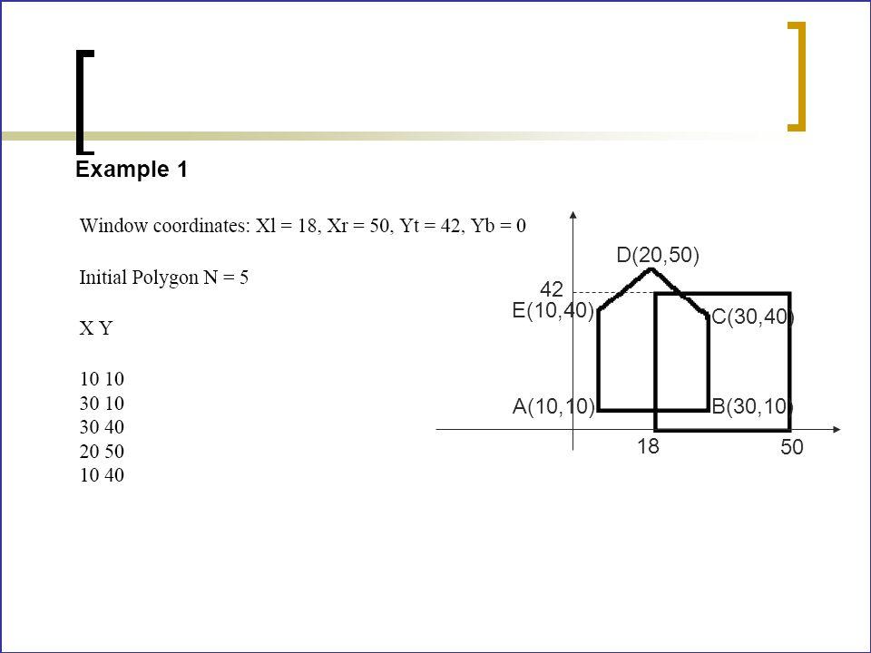 D(20,50) 42 E(10,40) C(30,40) A(10,10) B(30,10) 18 50