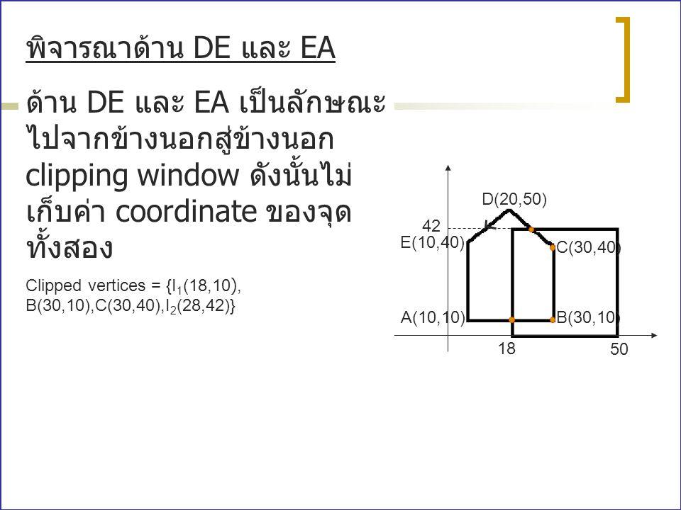 พิจารณาด้าน DE และ EA ด้าน DE และ EA เป็นลักษณะไปจากข้างนอกสู่ข้างนอก clipping window ดังนั้นไม่เก็บค่า coordinate ของจุดทั้งสอง.