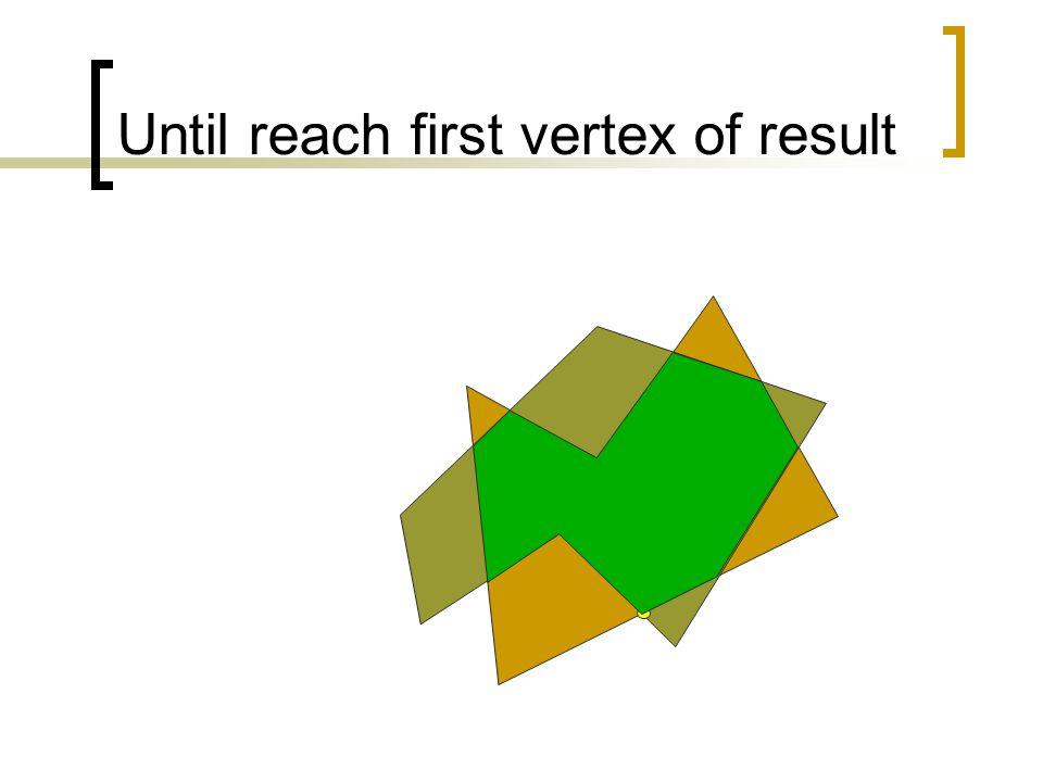 Until reach first vertex of result