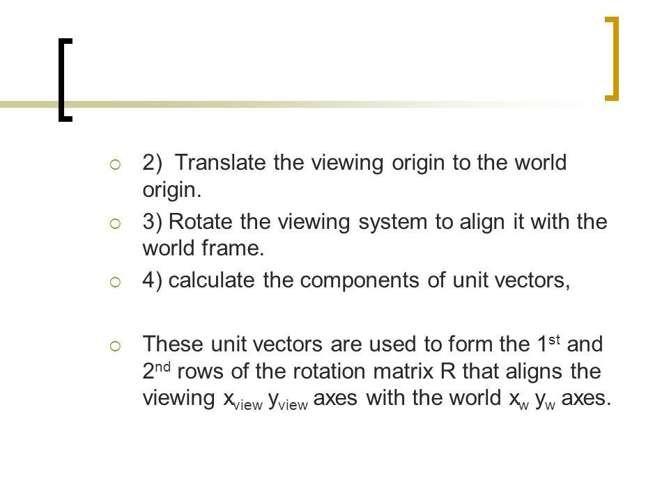2) Translate the viewing origin to the world origin.