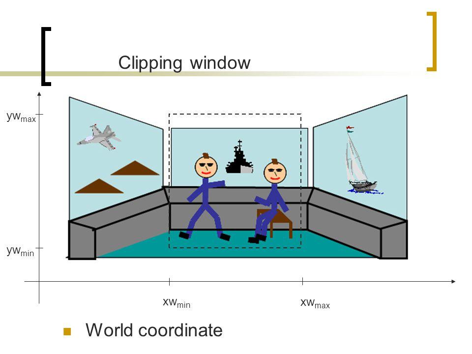 Clipping window ywmax ywmin xwmin xwmax World coordinate