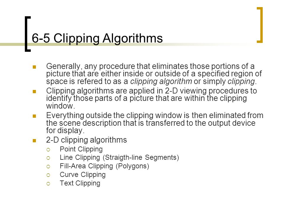 6-5 Clipping Algorithms