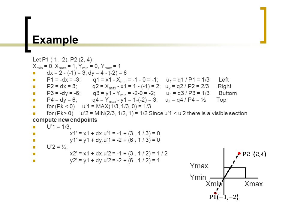 Example Ymax Ymin Xmin Xmax Let P1 (-1, -2), P2 (2, 4)