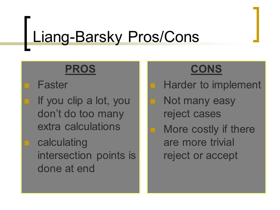 Liang-Barsky Pros/Cons