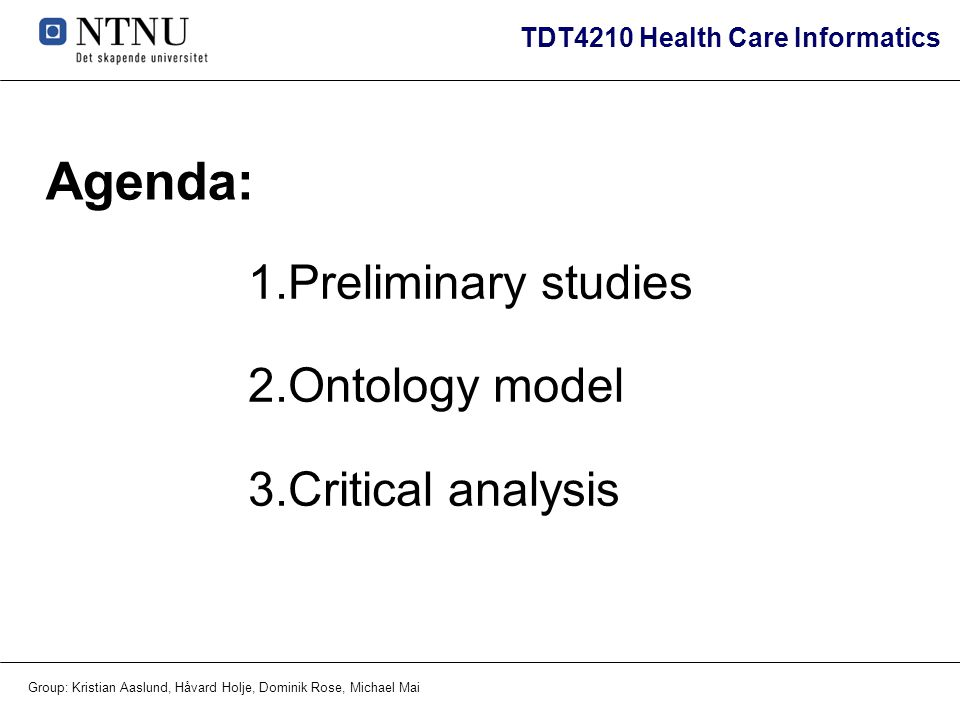 Agenda: Preliminary studies Ontology model Critical analysis
