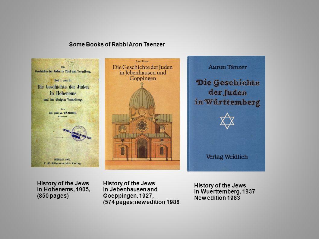 Some Books of Rabbi Aron Taenzer