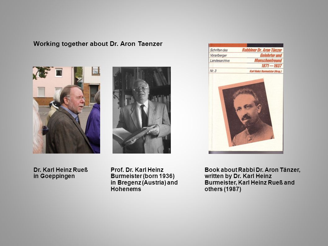 Working together about Dr. Aron Taenzer