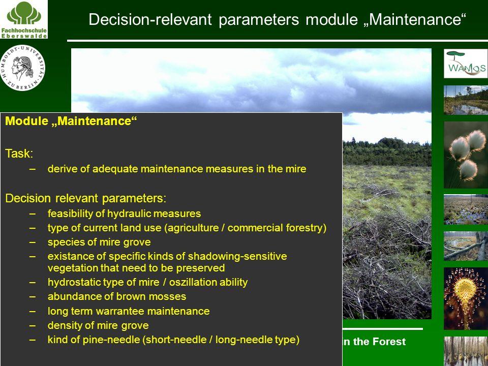 """Decision-relevant parameters module """"Maintenance"""