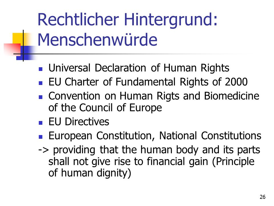 Rechtlicher Hintergrund: Menschenwürde