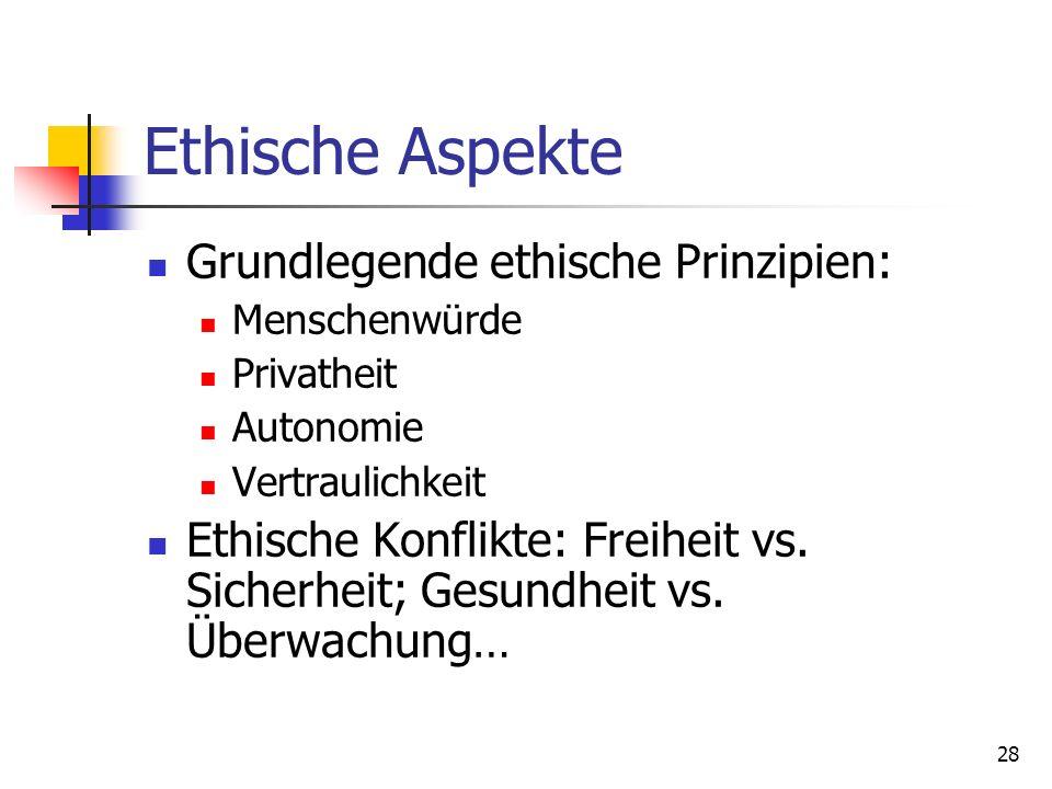 Ethische Aspekte Grundlegende ethische Prinzipien: