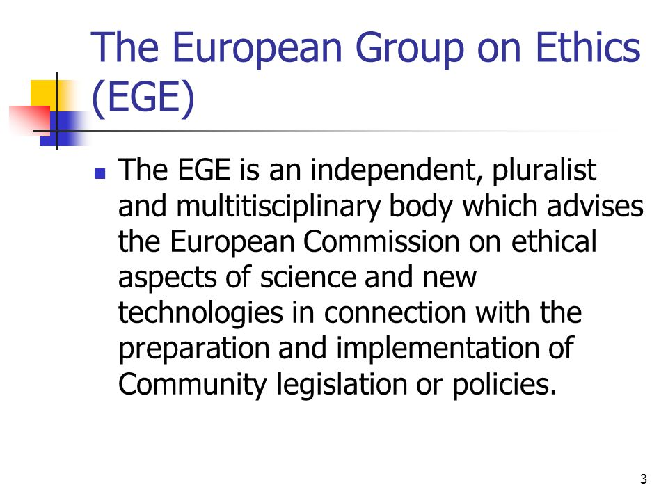 The European Group on Ethics (EGE)