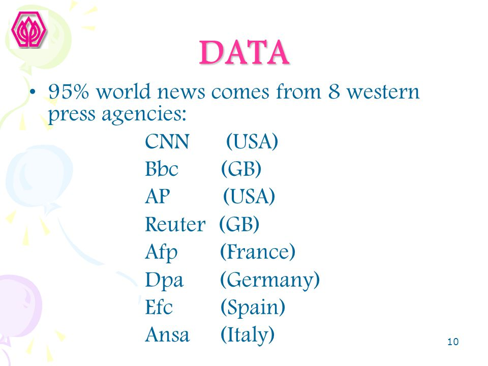 DATA 95% world news comes from 8 western press agencies: CNN (USA)