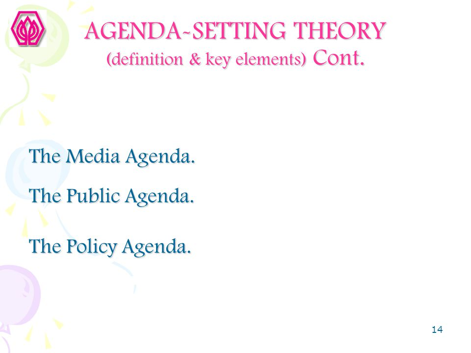 AGENDA-SETTING THEORY (definition & key elements) Cont.
