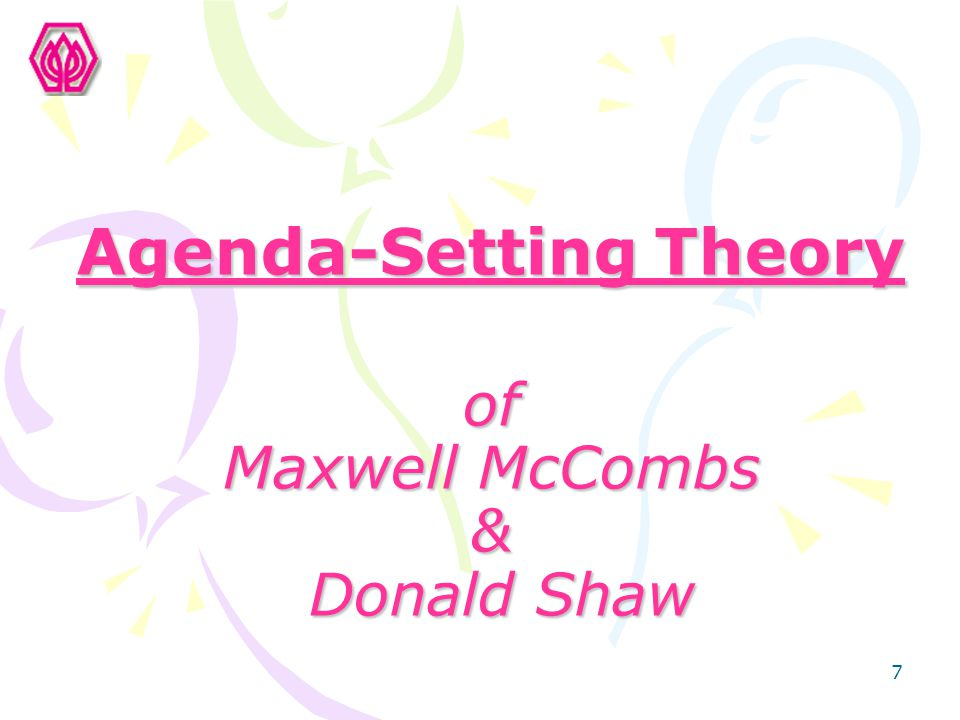 Agenda-Setting Theory of Maxwell McCombs & Donald Shaw