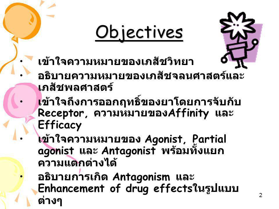 Objectives เข้าใจความหมายของเภสัชวิทยา