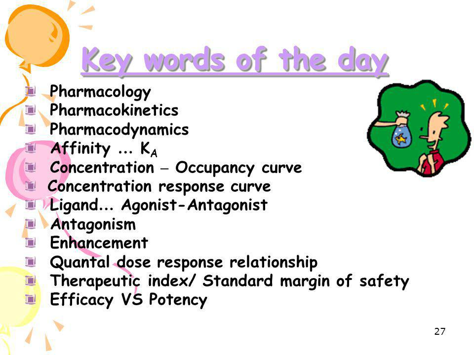 Key words of the day Pharmacology Pharmacokinetics Pharmacodynamics