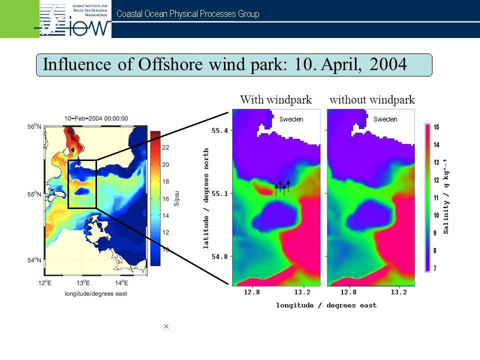 Influence of Offshore wind park: 10. April, 2004