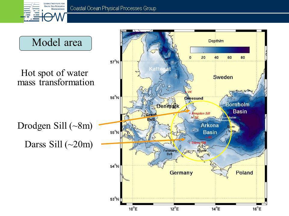 Model area Hot spot of water mass transformation Drodgen Sill (~8m)