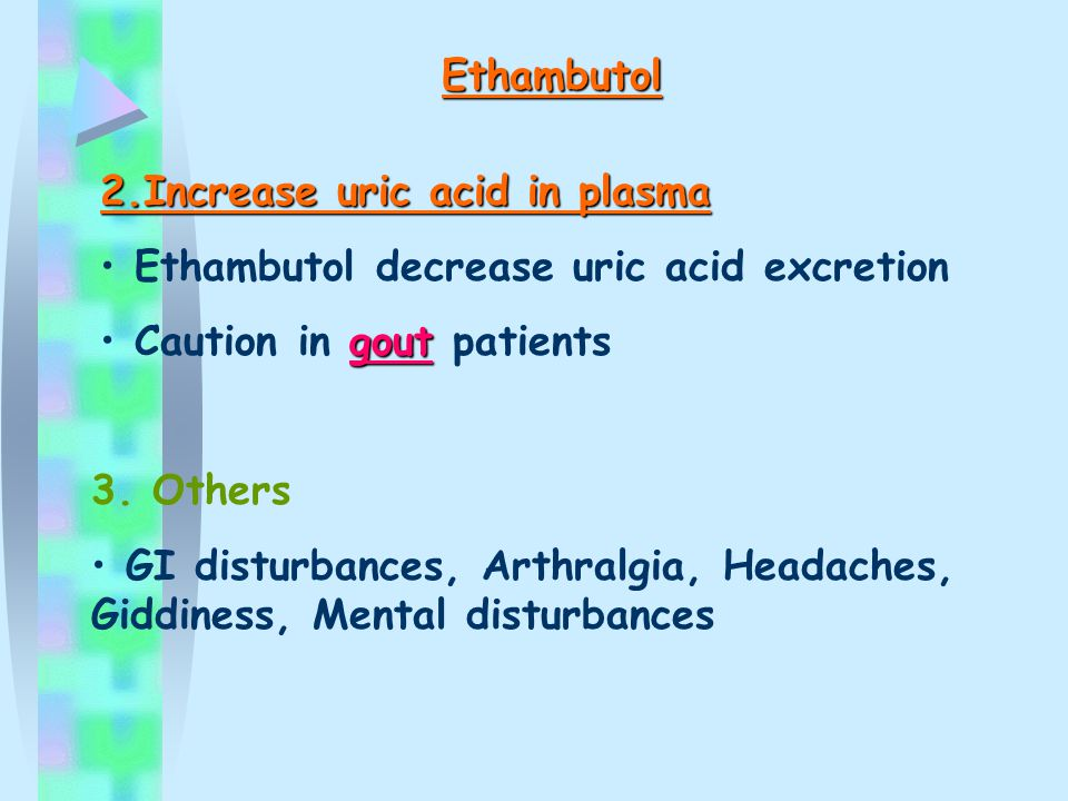 Ethambutol 2.Increase uric acid in plasma. Ethambutol decrease uric acid excretion. Caution in gout patients.