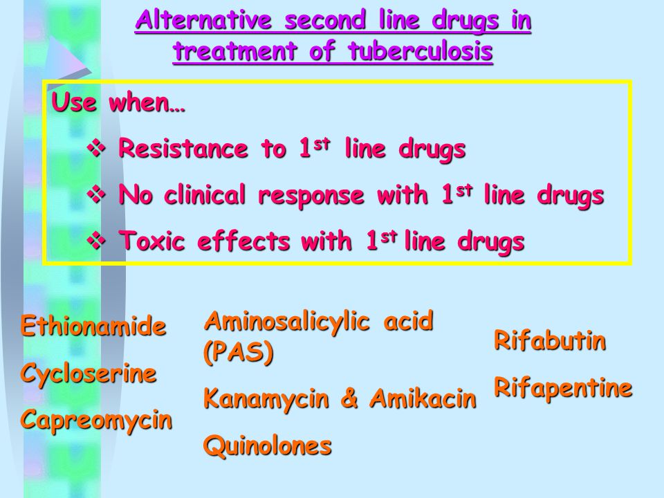 Alternative second line drugs in treatment of tuberculosis