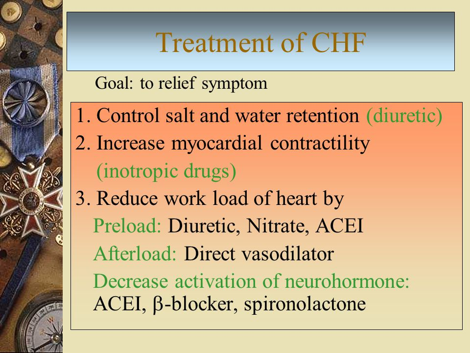 Treatment of CHF 1. Control salt and water retention (diuretic)