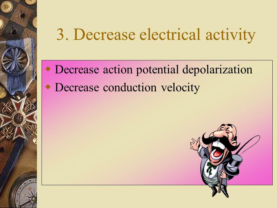 3. Decrease electrical activity