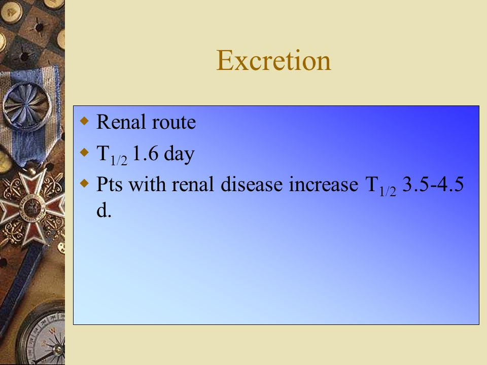 Excretion Renal route T1/2 1.6 day